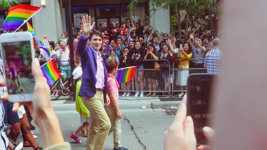 Prime Minister Justin Trudeau in a crowd at a Gay Pride celebratin